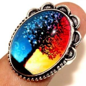 *** $15 Summer Sale *** Fancy Glass Silver Ring